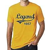 One in the City Hombre Camiseta Vintage T-Shirt 1957 Cumpleaños de 64 años Amarillo Amarillo XS