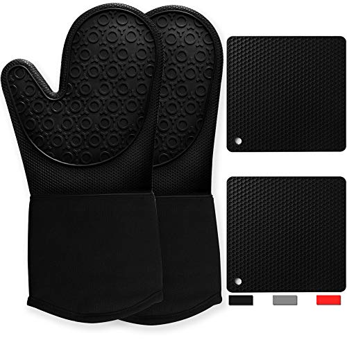 Silicone Oven Mitts and Pot Holders Sets  Heavy Duty Heat Resistant Waterproof Black Long Oven Mits Pair Kitchen Counter Safe Trivet Square Hot Pads Flexible for Cooking Baking Grilling Microwave