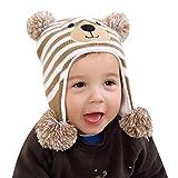 mioim Strickmütze Kindermütze Cartoon Bär Baby Mädchen Jungen Mütze Winter Ohrwärmer Hüte Beanie 48-50cm 1-3 Jahre