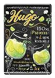 Blechschild Hugo Cocktail Zutaten Rezept - Retro Deko