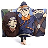 Winter Novelty Moving Throw Blanket, Naruto Minato Team 7 Rin Nohara Kakashi Hatake Obito Anime Hooded Blankets, Breathable Thick Kids Wearable Blankets for Graduation, Camping, Better Sleep