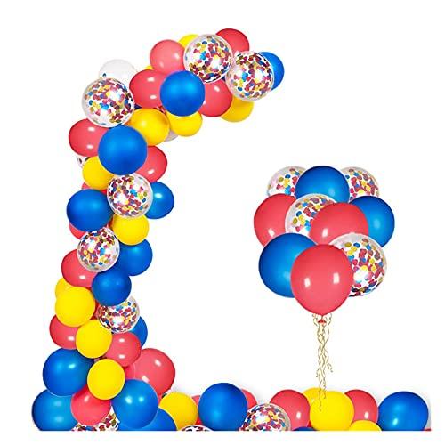 gzynyl Globos Globos Kit de Arco 130 unids Red Azul Amarillo Confetti Látex Guirnalda Guirnalda para Decoración de Fiesta de Cumpleaños