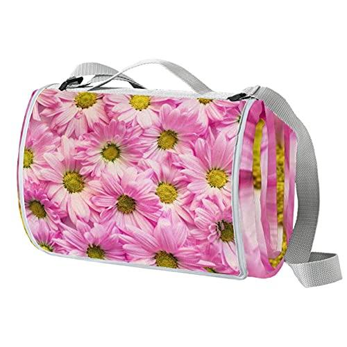 Manta romántica para pícnic con diseño de margaritas rosadas, ideal para la playa y acampar en la hierba, primavera y verano