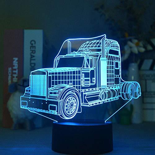 Luz De Ilusión 3D Luz De Noche Led El Camión Base Transporta La Lámpara De Mesa De Acrílico De Proyección Como Decoración De La Habitación Como Regalo De Cumpleaños Para Niños