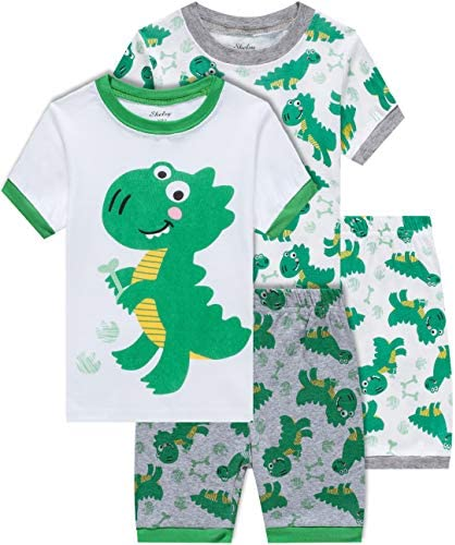 Boys Dinosaur Pajamas Summer Children 4 Piece Cotton Pjs Set Toddler Kids Sleepwear Size 3T product image