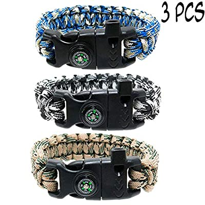 FROG SAC 3 PCs Survival Paracord Bracelet Set Men Women Compass, Emergency Whistle, Fire Starter - Camo Parachute Cord -Tactical Gear Bracelets Fishing, Hiking, Hunting, Camping Accessories