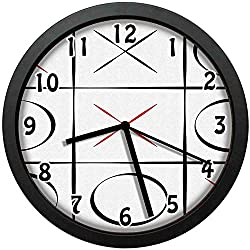 kuangmaikuangmai-6 Vintage Wall Clock - Tic Tac Toe Simplistic Vertical Horizontal Lines Unique Decorative Wall Clock Nice for Gift or Office Home 10in with Frame
