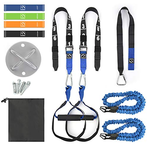 FITINDEX 18Pcs Fitness Resistance Trainer Straps, Resistance Training Straps with Ceiling Wall Mount Anchor, Resistance Training Kit with Resistance Loop Bands for Home Gym Full Body Workout Outdoor