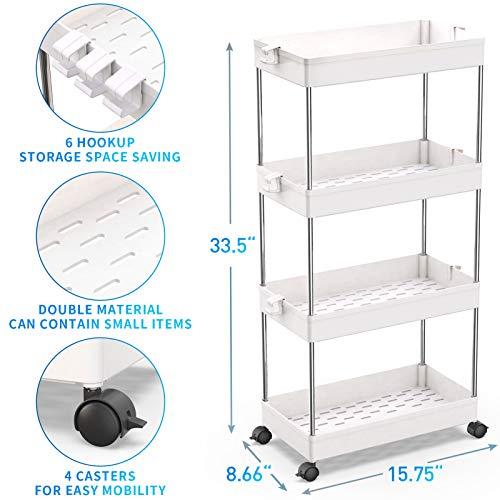 SPACEKEEPER Storage Cart, 4-Tier Mobile Shelving Unit, Bathroom Rolling Cart Utility Storage Organizer Shelf for Kitchen Living Room Bathroom Laundry Room