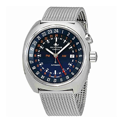 Glycine Airman SST 12azul Dial Acero Malla Mens Reloj Automático gl0073