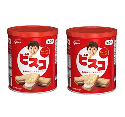 【まとめ買い】 江崎グリコ ビスコ 保存缶 30枚 × 2缶 <賞味期限5年>