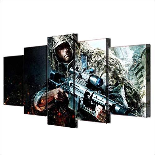 Lienzo de 5 piezas para pinturas, rifles, juegos de soldados, carteles de francotiradores, marco de madera, lienzo artístico de 150x80 cm con marco