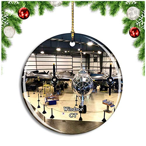 Weekino Windsor Locks Air Museum Connecticut USA Christmas Ornament Xmas Tree Decoration Hanging Pendant Travel Souvenir Collection Double Sided Porcelain 2.85 Inch