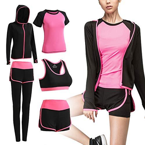 VTJU Abbigliamento Sportivo da Donna Tuta da Ginnastica Yoga Suit 5 Pezzi Completo Sportivo Fitness Running Jogging Training Abbigliamento (Rosa, S)