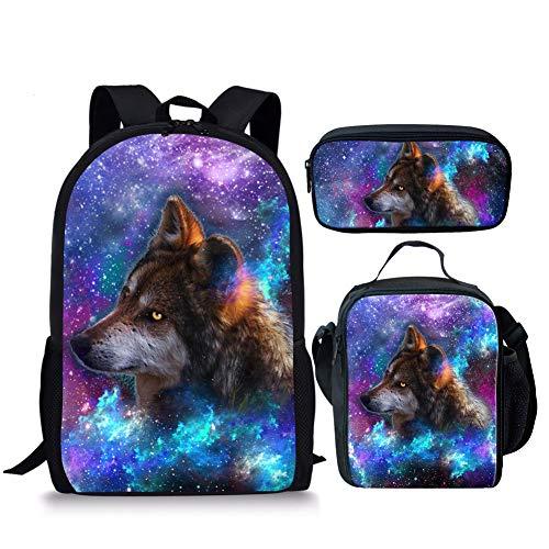 Chaqlin Fashion Galaxy Animal Rucksack Schultasche für Jungen Mädchen Buchtasche Tagesrucksack, (3 Stück) Wolf-3 (Blau) - S-CC3198C+G+K