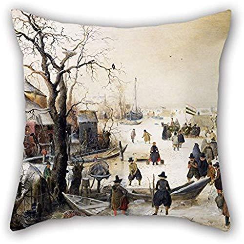 Ölgemälde Hendrik Avercamp-Winterszene auf einem Kanal Kissenbezug Geschenk oder Dekor für Sitzboden Divan Bettwäsche Liegestuhl Tanzraum