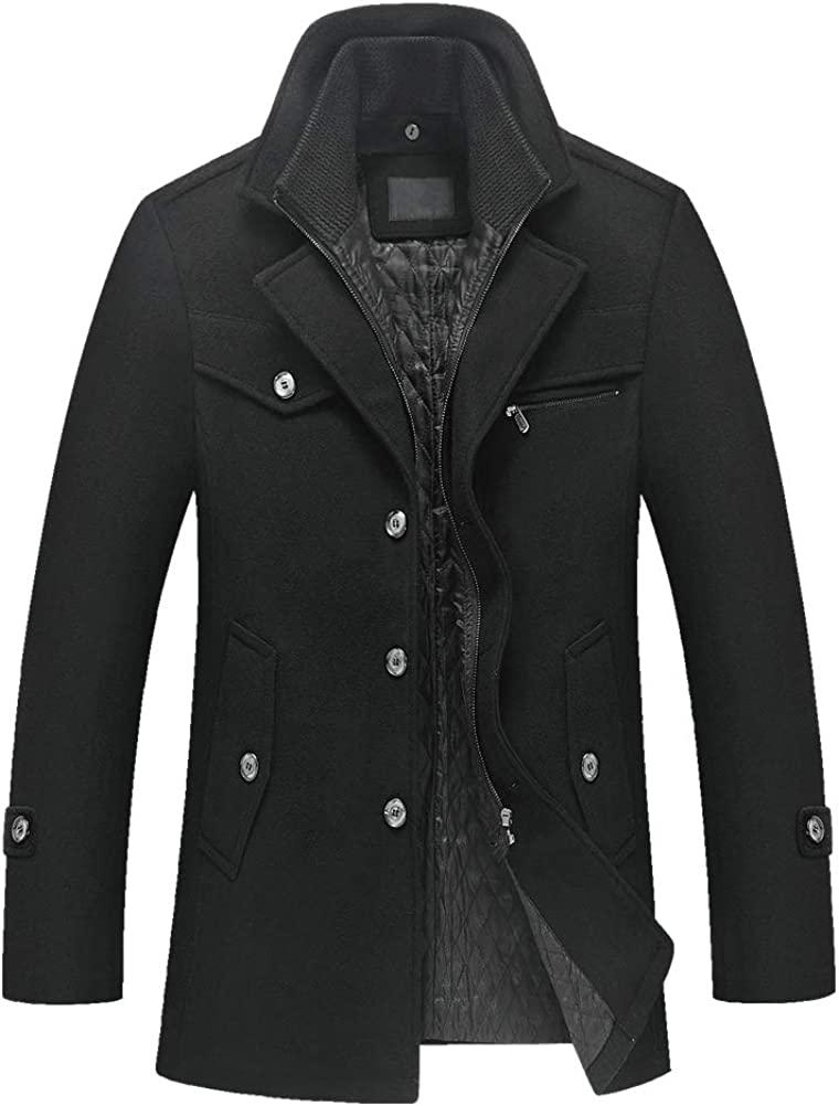 FTCayanz Men's Wool Coat Winter Slim Fit Pea Coats Single Breasted Quilted Lined Trench Jacket