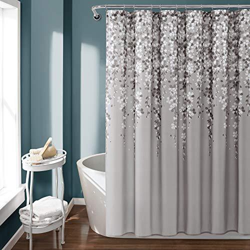 Lush Decor, Gray Weeping Flower Shower Curtain-Fabric Floral Vine Print Design, x 72