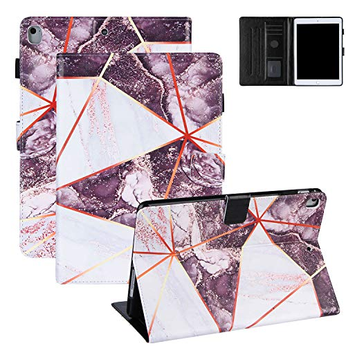 Coopts Marble Series Case for iPad 9.7' 6th/5th Gen 2018/2017, iPad Air 2/Air Case Cover, Flip PU Leather Kickstand Auto Sleep Wake Card Slots Protective Case for iPad 6 2018/iPad 5 2017, Deep Purple