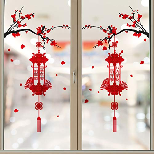 ZHXMD New Year Decoration Glass Stickers Year of the Ox Arrange Window Grille Blessing Chinese New Year Door Stickers 2021 Chinese New Year New Year Window Stickers
