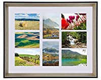 Space Art Deco 16x20 Frame for Eight 4x6 Picture, with White Mat - Multiple Photo Collage Frame - Black Color with Panel Silver Champagne Beveled Edge - Wall Mounting - Real Glass (16x20, 8-Opening) [並行輸入品]