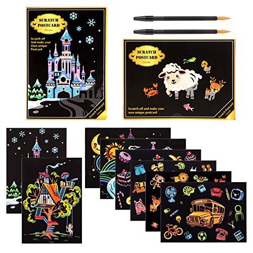 Kesote 8 Tarjetas Postal Papel de Rascar + 2 Plumas Papel de Pintura Mágica para Notas, Dibujos, Juegos (20x14CM)