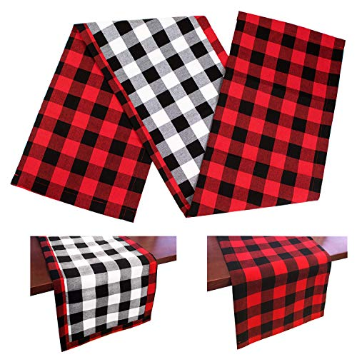 DAPUTOU Christmas Table Runner Red and Black Buffalo Check Plaid Double Sided Cotton Burlap Waterproof Table Runners for Farmhouse Holiday Christmas Table Decorations (Black/White/Red, 14x72inch)