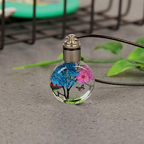 dingtian Necklace Luminous Dried Flower Butterfly Glass Ball Women Necklace Pendant Rope Chain Necklace for Women Strip Leather Choker navyblue