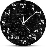 Reloj de pared grande para cocina Sala de estar Dormitorio Oficina Baño Reloj de pared Reloj de pared de 12 pulgadas Número 9 Reloj matemático Reloj de pared Ecuación matemática El reloj de mulas Arte