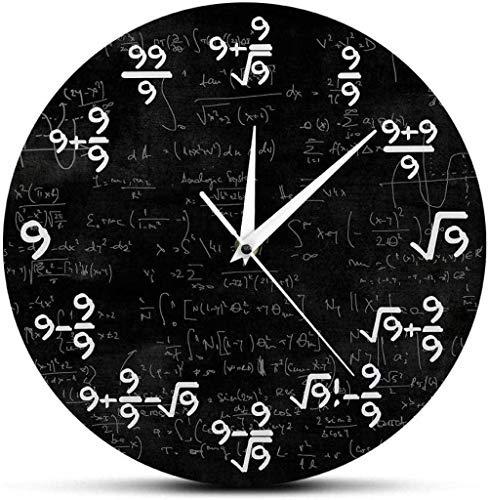 Grande horloge murale pour cuisine salon chambre bureau salle de bain horloge murale 12 pouces horloge murale numéro 9 horloge mathématique horloge murale équation mathématique l'horloge des mules art