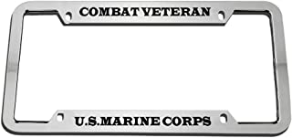 Speedy Pros Combat Veteran U.S.Marine Corps Zinc Metal License Plate Frame Car Auto Tag Holder - Chrome 4 Holes