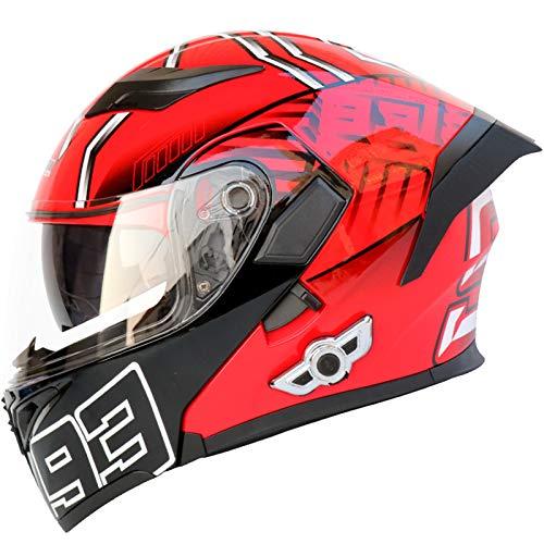 Casco delantero abatible para motocicleta, doble visera solar, casco modular de seguridad, unisex, con Bluetooth y cola roja, talla XXL