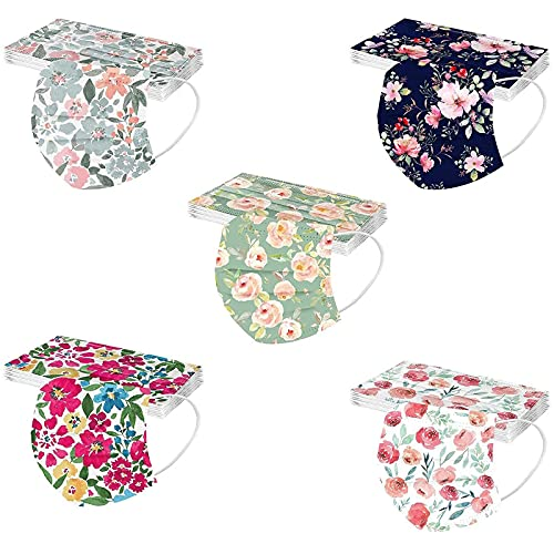 Face Mask,Adult Flower Printing 3-Layer Protective Breathable Masks Non-Woven with Nose Clip Ear Loop(A#,50PCS)