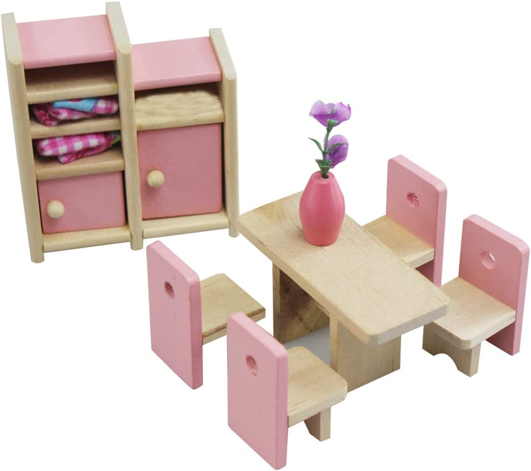2 People Loozykit Miniature Childrens Bedroom Furniture Set Wooden Doll House Toy DIY Dollhouse Kit for Girls