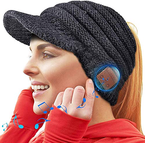 SHINGO Bluetooth Beanie Hat, Bluetooth 5.0 Beanie Hat Gift for Women, Wireless Headphone Ponytail Beanie Music Hat