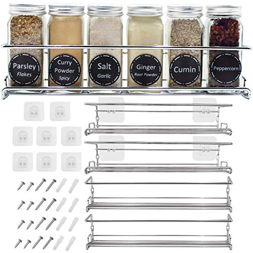 Spice Racks Organizer For Cabinet Door Mount, Wall Mounted: Unique Racks Design to Secure Jars - Set of 4 Spices & Seasoning Chrome Hanging Shelf Kit - Storage in Kitchen, Pantry, Cupboard, Countertop