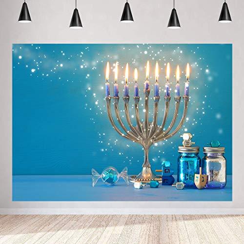 Happy Hanukkah Photography Backdrop for Hanukkah Decorations MEETSIOY Hanukkah 9 Golden Lamp Background Israel Party Decoration Cake Table Banner 7x5ft ZYMT0812