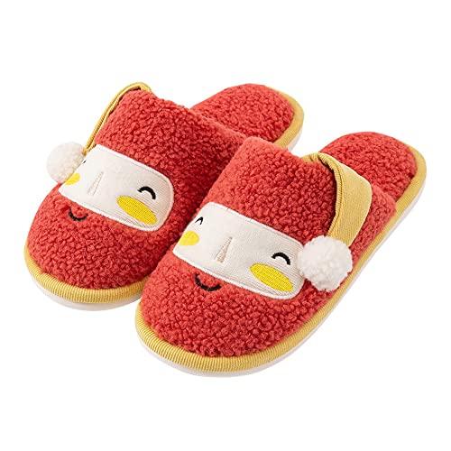 QAZW Zapatillas Navideñas De Espuma Viscoelástica para Mujer, Zapatos De Casa De Lana De Felpa De Invierno, Zapatillas Deslizantes Cálidas para Dormitorio, Cómodas, Interiores,Orange-7-8