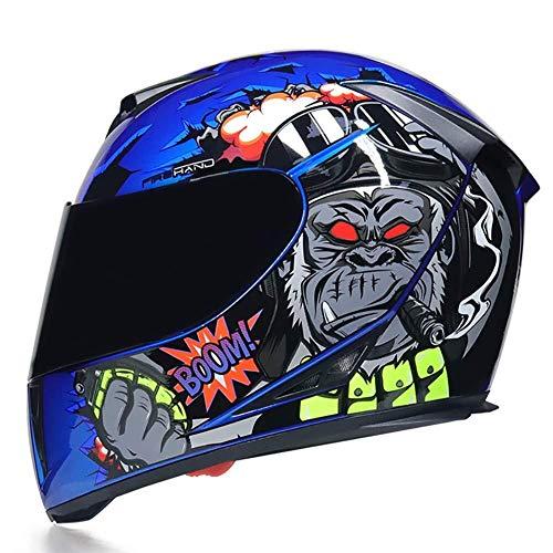 Orientación vertical de la lente de la motocicleta casco de la moto, la cara llena Negro parasol Vespa-Casco for hombres y mujeres, la cara abierta Moto Casco (M54-2XL61CM) Azul Brillante eternal