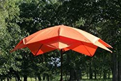 8' Outdoor Lotus Fiberglass Wind Resistant Patio Umbrella – Orange