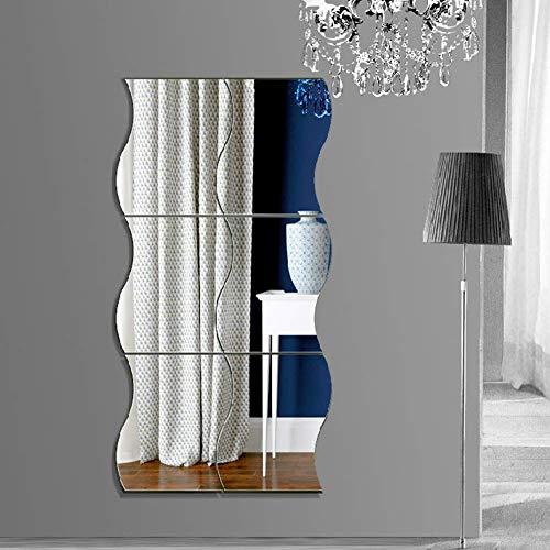 Lesai Espejo Pared Flexible 6pcs Forma Ondulada Espejos de Pared Autoadhesivo Espejos Decorativos para la Superficie de la Decoración de la Oficina en el Hogar (Plata, 30 x 25 cm)