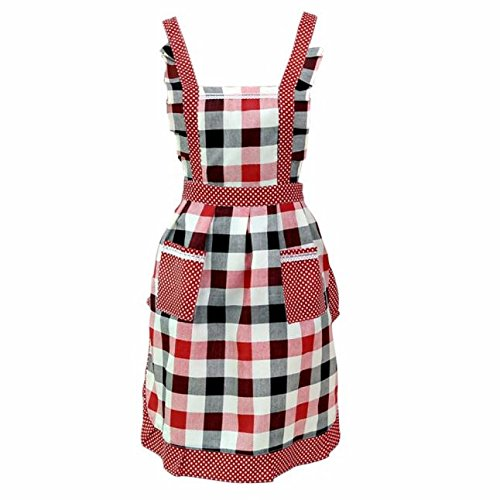 Women's Square Apron Baking Cooking Gardening Works Washable for Kitchen Dress with 2 Pockets (A)