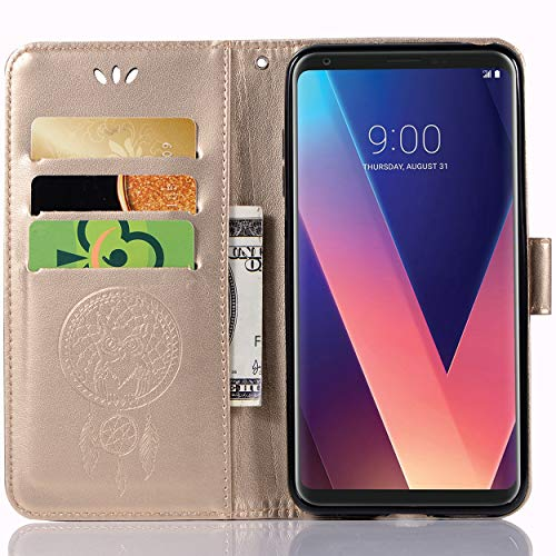 LG V30S ThinQ Lederhülle, LG V30S+ ThinQ Wallet Hülle, Leder-Prägung mit Blumenmuster & Kartenhalter für LG V30S ThinQ, LG V30S+ ThinQ