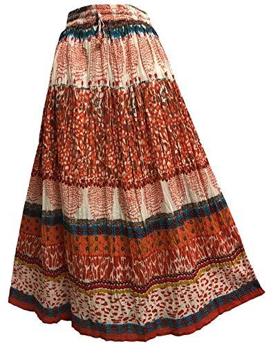 JK Indian Cotton Crinkle Broomstick Bohemian Gypsy Long Skirt #1
