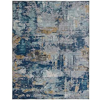 ReaLife Rugs Machine Washable Rug - Stain Resistant, Non-Shed - Eco-Friendly, Non-Slip, Family & Pet Friendly - Made from Premium Recycled Fibers - Abstract Modern - Blue, 5' x 7' (B08636X9HZ) | Amazon price tracker / tracking, Amazon price history charts, Amazon price watches, Amazon price drop alerts