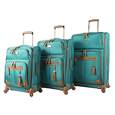 Steve Madden Luggage 3 Piece Softside Spinner Suitcase Set Collection (One Size, Harlo Teal Blue)