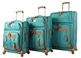 Steve Madden Designer Luggage Collection - 3 Piece Softside Expandable Lightweight Spinner Suitcase Set - Travel Set includes 20 Inch Carry on, 24 Inch & 28-Inch Checked Suitcases (Harlo Teal Blue)
