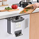Hanging Kitchen Trash Can, HI NINGER Foldable Waste Bin for Kitchen, Collapsible Hang Small Plastic Garbage Can 2.4 Gallon for Cabinet/Car/Bedroom/Bathroom-Grey