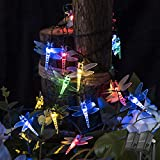 shinymolly Dragonfly Solar String Lights, 2PACK 19.6FT 30 Led Waterproof Solar Powered Fairy Lights, 8 Modes Decorative Lights for Patio Garden Yard Fence Wedding Christmas Party, Multicolor