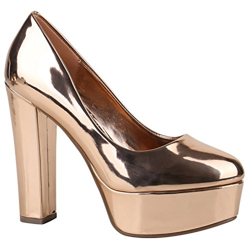 Damen Plateau Pumps Lack High Heels Party Schuhe Plateauschuhe 157181 Rose Gold Lack 39 Flandell